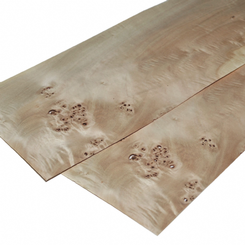"Poplar burr veneer. Set of 2 sheets 22"" x 6.5"" ( 56 x 16 cm )"